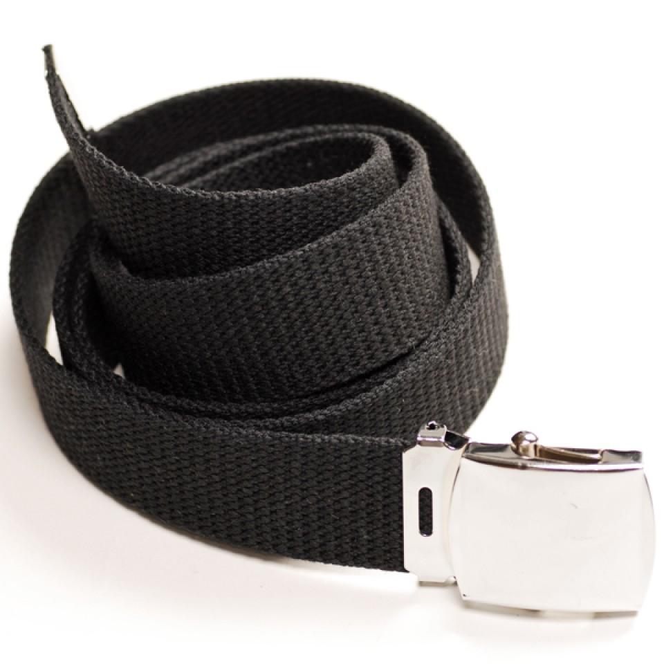 Long Casual Web Belt - Black