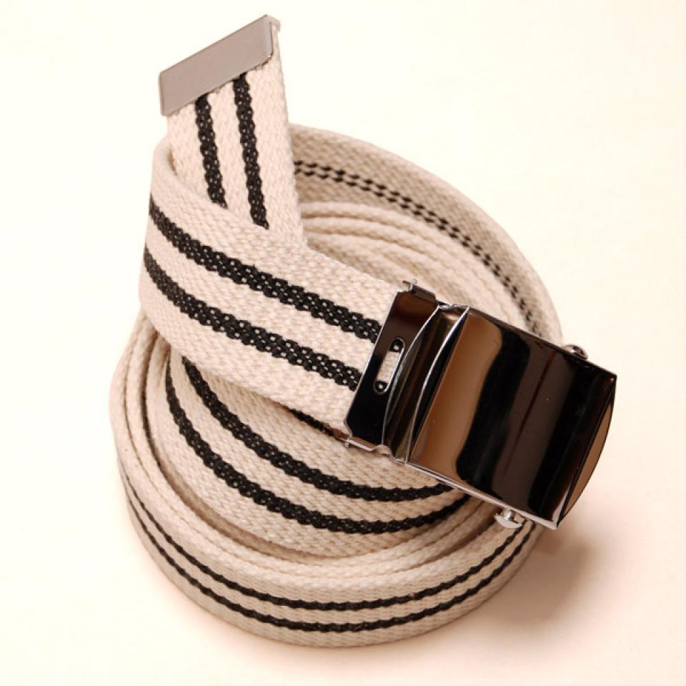 Long Casual Web Belt - White/Black