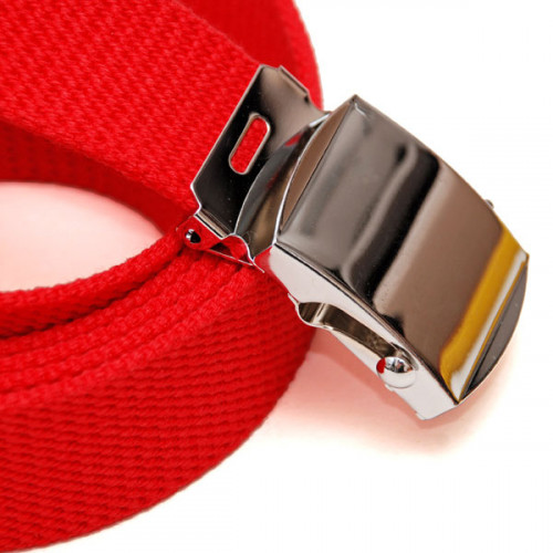Long Casual Web Belt - Ture Red
