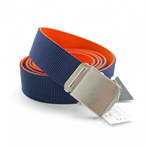 Extra Long Reversible Casual Belt - Navy/Orange