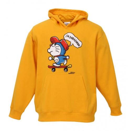 Skateboarding Doraemon Pullover Hoodie - Yellow