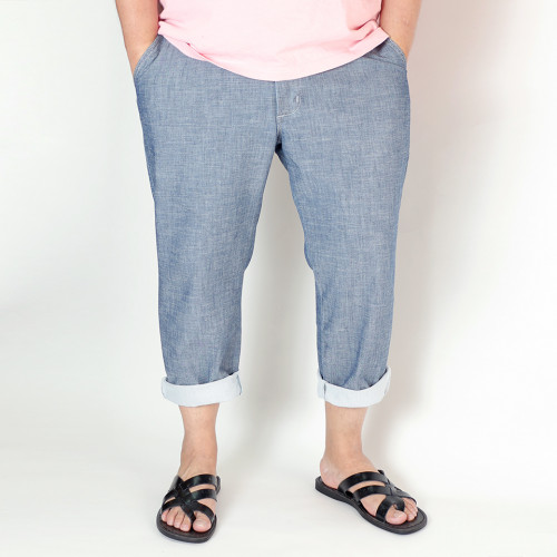 503 麻混 Cool Wind Mesh Cropped Pants - Blue