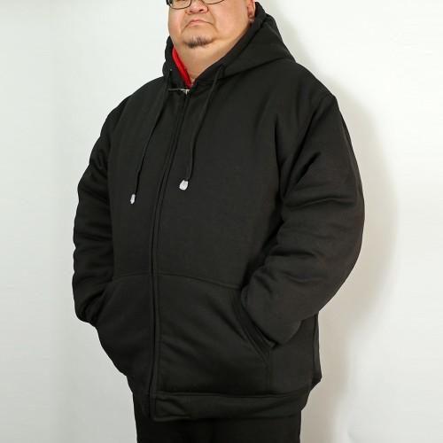 Thermal Lined Heavy Duty Fleece Hoodie - Black