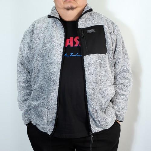 Back Mesh Boa Fleece Jacket - Grey
