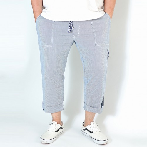 Organic Cotton Drawstring Cropped Pants - Stripe