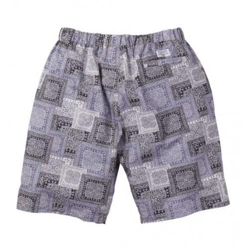 Ripple Bandana Pattern Half Pants - Black/Grey