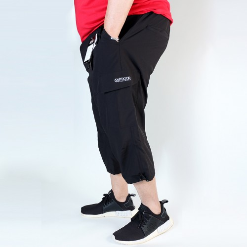 Stretch Cropped Cargo Shorts - Black