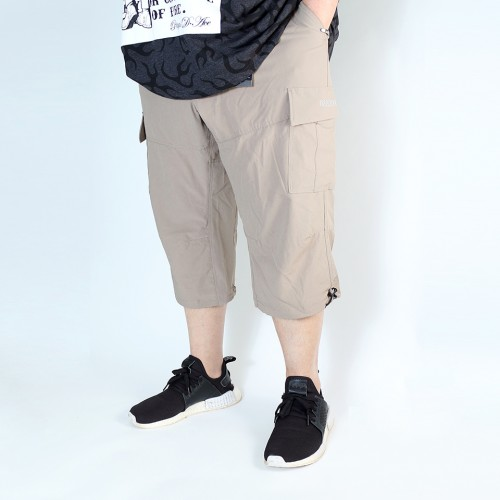 Stretch Cropped Cargo Shorts - Khaki