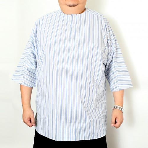 Seeksucker Hippie Shirt - White Blue Stripe