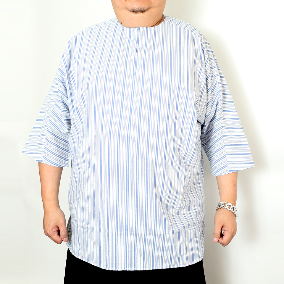 Seeksucker Hippie Shirt - White Blue Stripe