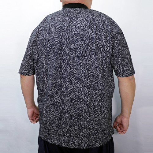 Flower Pattern Polo Shirt - Black
