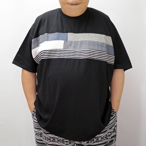 Blue Tone Patching Panel Tee - Black
